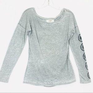 Soulcycle Cutout Back Long Sleeve Gray Shirt Top